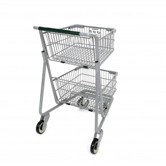 Two-Tier Metal Express Shopping Cart #075